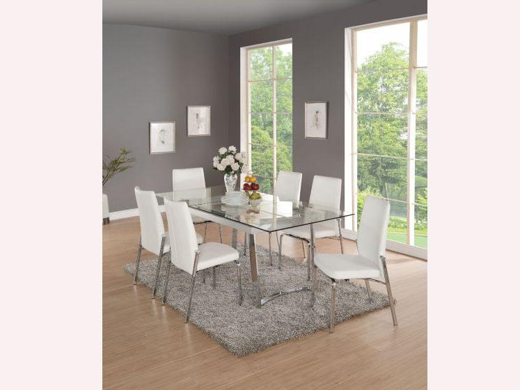 Osias White Chrome Clear Glass Dining Set