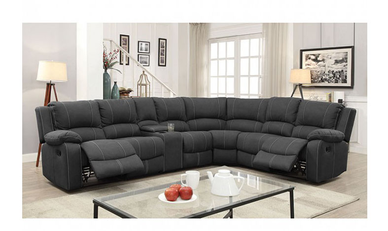 Monique Sectional W 2 Recliners 3 Drop Down Tables Console