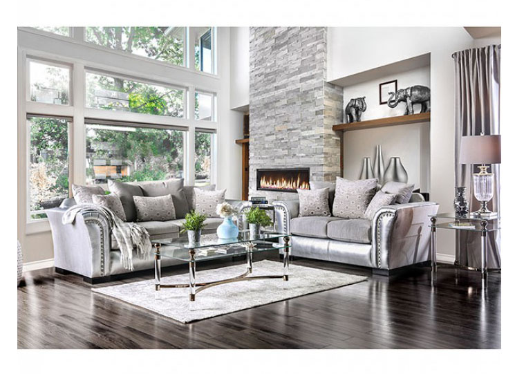 Silver Sofa Set Coaster Frostine Silver Living Room Set