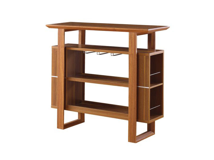Light walnut finish wood bar unit shop for affordable for Wooden bar unit
