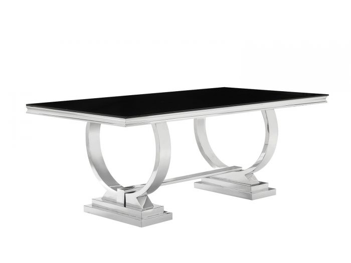 antoine black tempered glass chrome dining table set shop for affordable home furniture decor