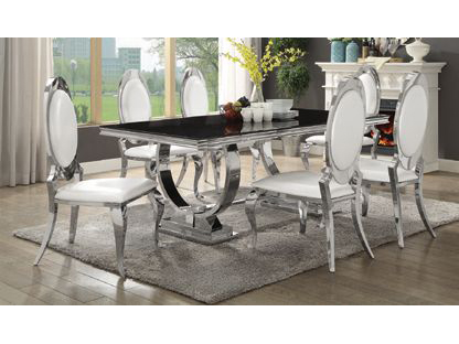 Perfect Antoine Black Tempered Glass Chrome Dining Table Set