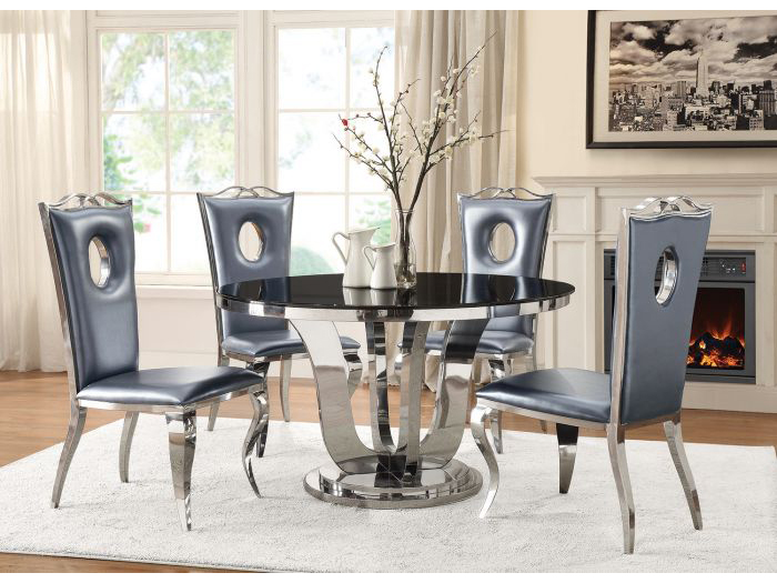 Black Tempered Gl Chrome Round Dining Table Set