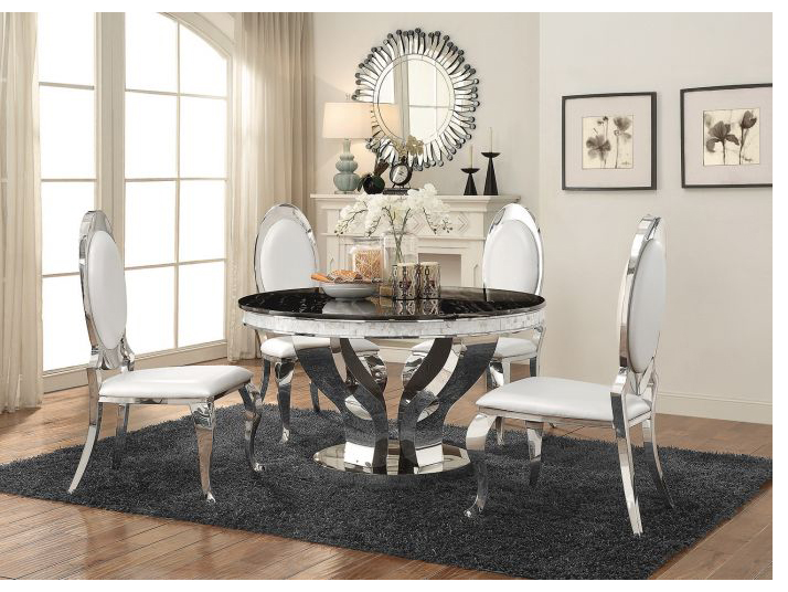 Faux Marble Chrome Round Dining Table Set & Faux Marble Chrome Round Dining Table Set - Shop for Affordable Home ...