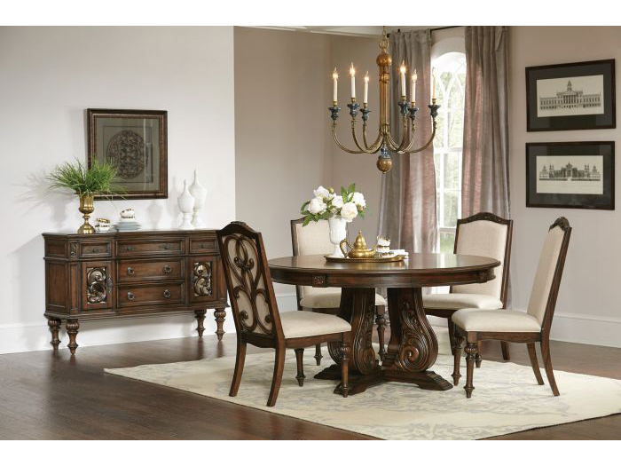 Antique Java Cream Fabric Round Dining Table Set Shop For - Cream round kitchen table and chairs