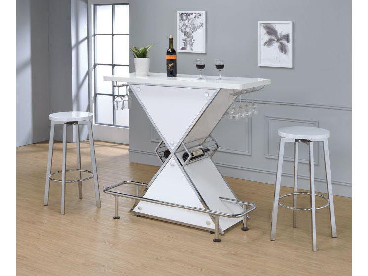 3Pcs Glossy White Bar Table Set