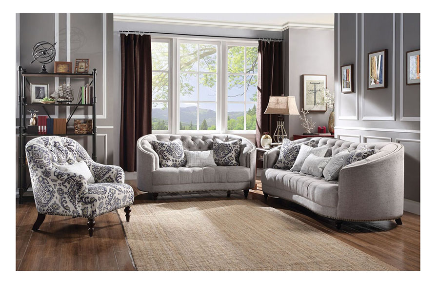 Saira Light Gray Sofa Set