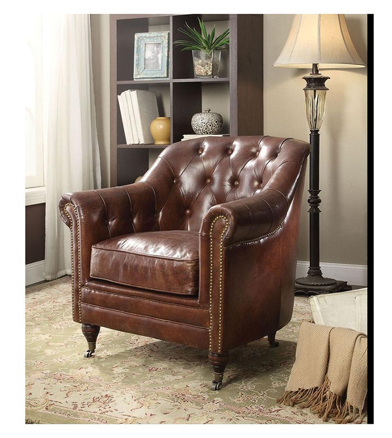 Dark Brown Accent Chairs.Aberdeen Vintage Dark Brown Accent Chair