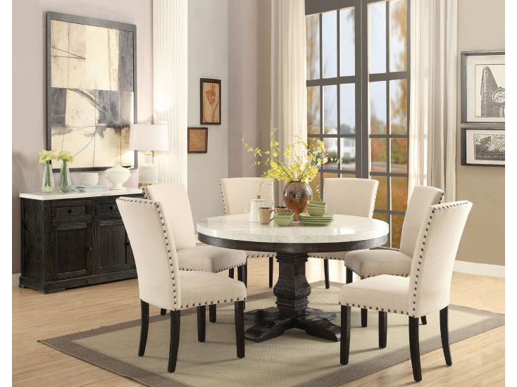 Nolan White Faux Marble Top Round Dining Set