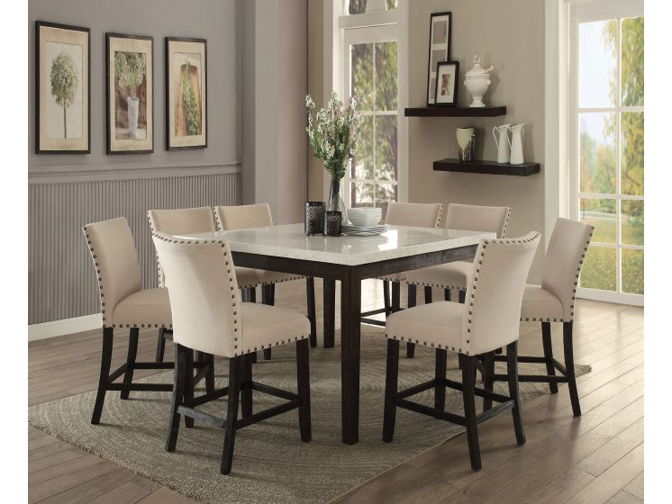Nolan White Marble Top Counter Height Dining Set