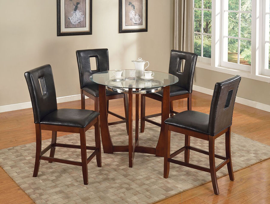 Baldwin Walnut Glass Top Round Dining Table Set