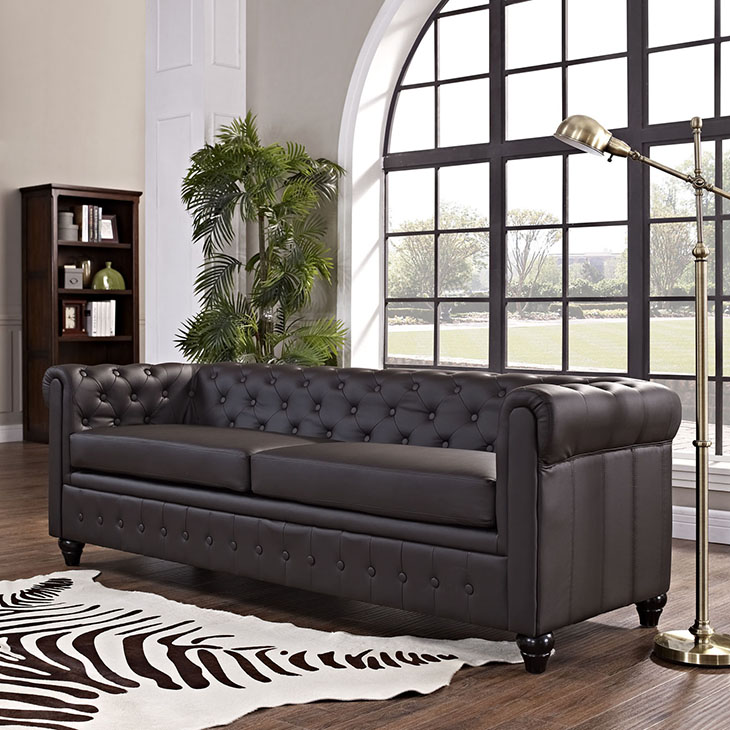 Attrayant Earl Upholstered Vinyl Sofa In Brown