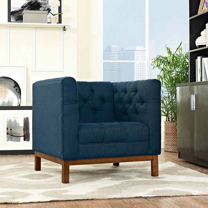 Panache Upholstered Fabric 2Pcs Sofa Set In Azure
