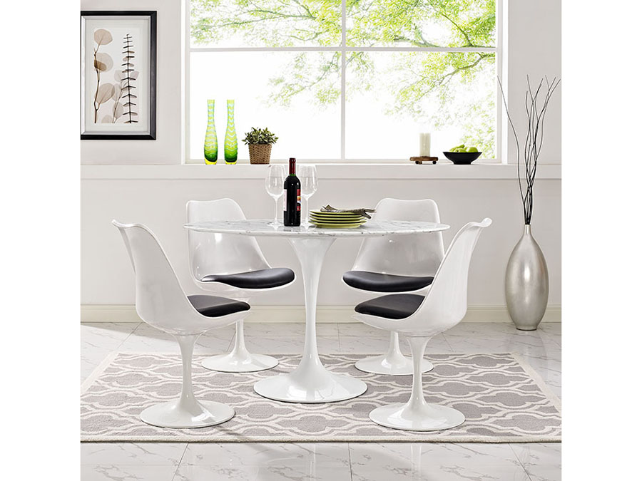 Lippa 48u2033Oval Shaped Artificial Marble Dining Table Set In White