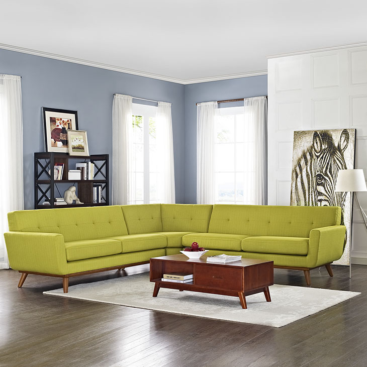 Engage L Shaped Sectional Sofa In Wheat