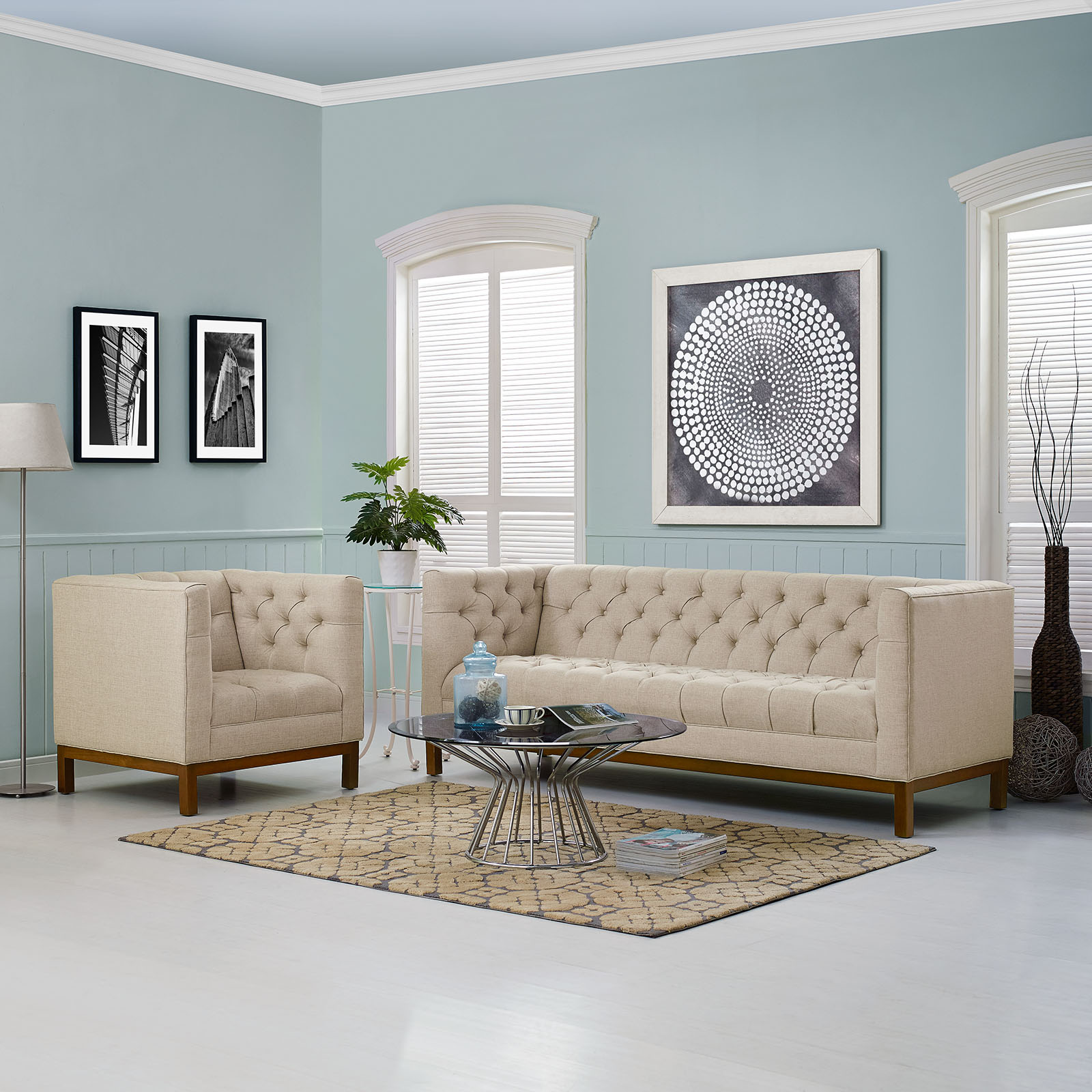 Attrayant Panache Upholstered Fabric Sofa In Beige