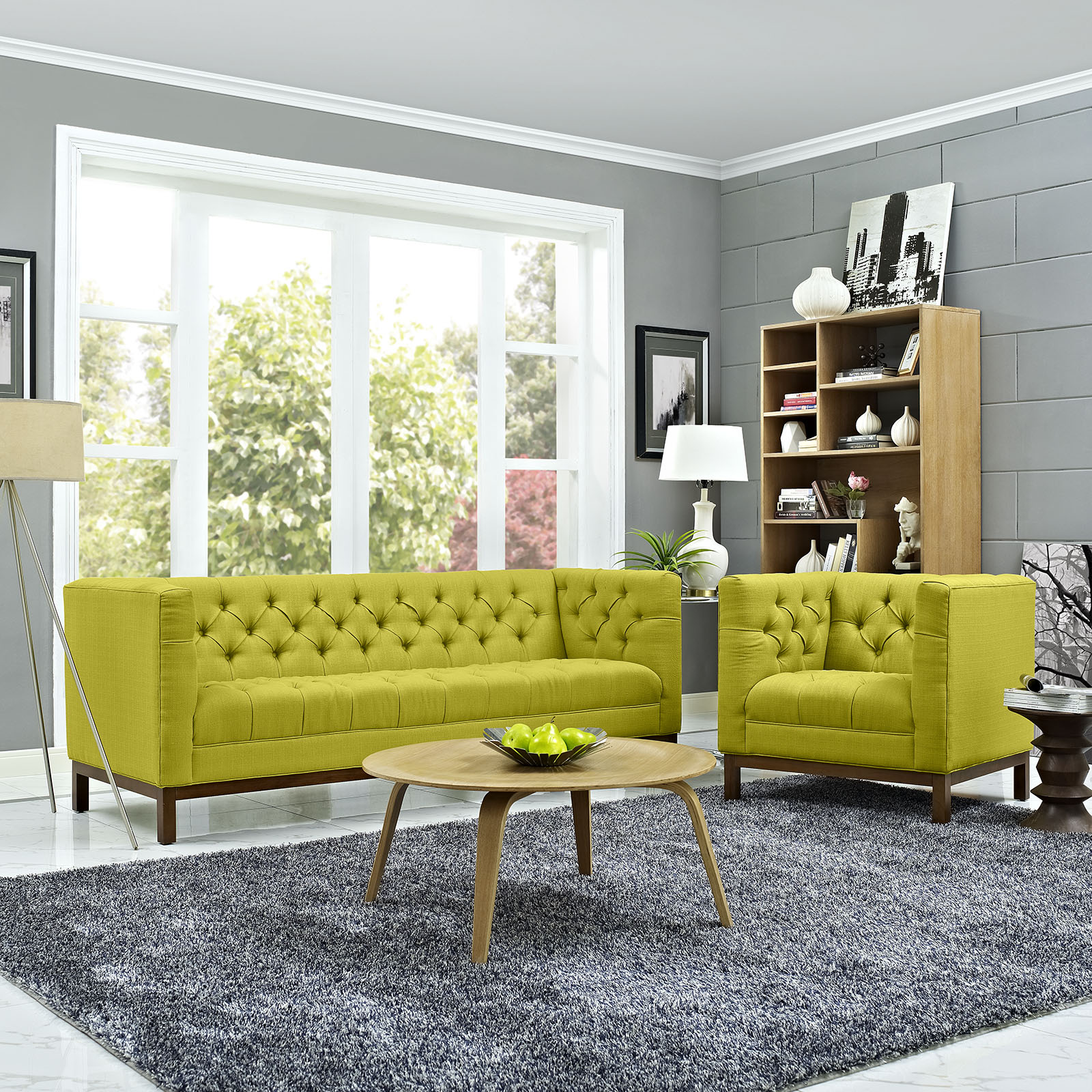 Panache Upholstered Fabric Sofa In Wheatgrass