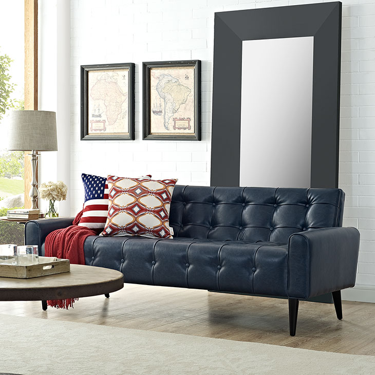 delve upholstered vinyl sofa in blue shop for affordable home rh muuduufurniture com