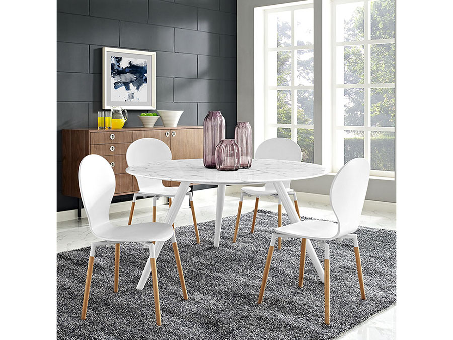 Lippa 54 Round Artificial Marble Dining Table Set With Tripod Base