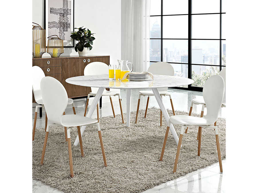 Lippa 60 Artificial Marble Dining Table Set With Tripod Base In White