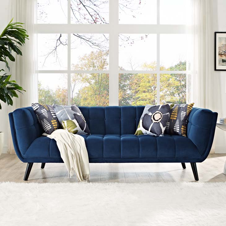 Bestow Velvet Sofa in Navy