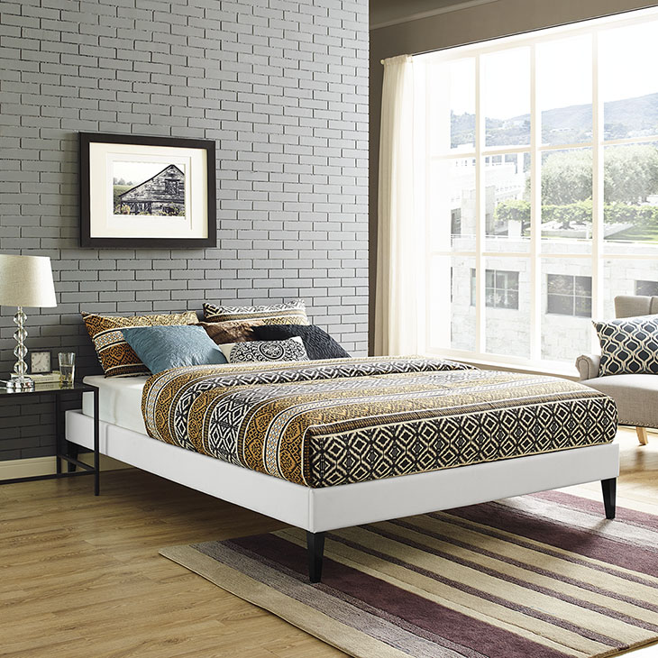 Sharon King Vinyl Bed Frame With Squared Tapered Legs In White ...