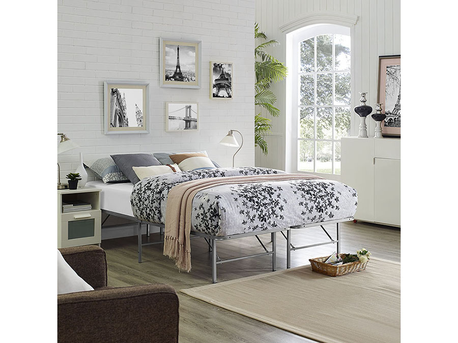 Horizon Queen Stainless Steel Bed Frame In Silver - Shop for ...