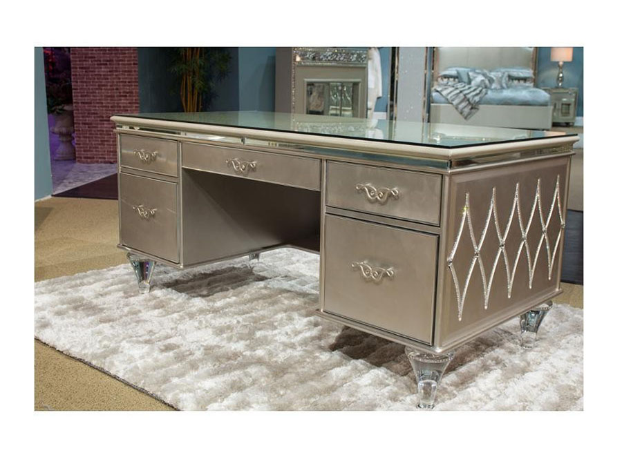Champagne Desk With Glass Top