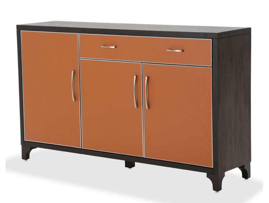 Orange 1 drawer 3 doors umber finish sideboard shop for for Sideboard orange