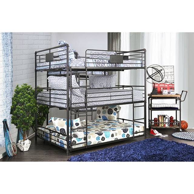 Exceptionnel Olga I Full Triple Decker Bunk Bed In Antique Black