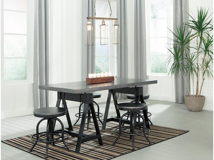 Minnona Aged Steel Adjustable Height Dining Set