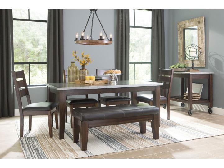 Larchmont Metallic And Dark Brown Rectangular Dining Set