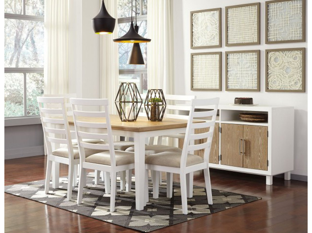 Merveilleux Gardomi White And Light Brown Rectangular Dining Set