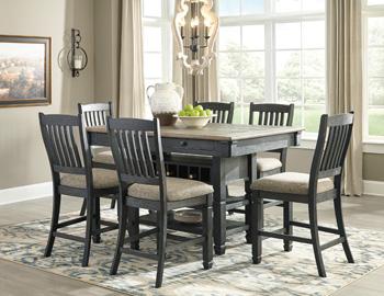Tyler Creek Black And Gray Rectangular Counter Height Dining Set