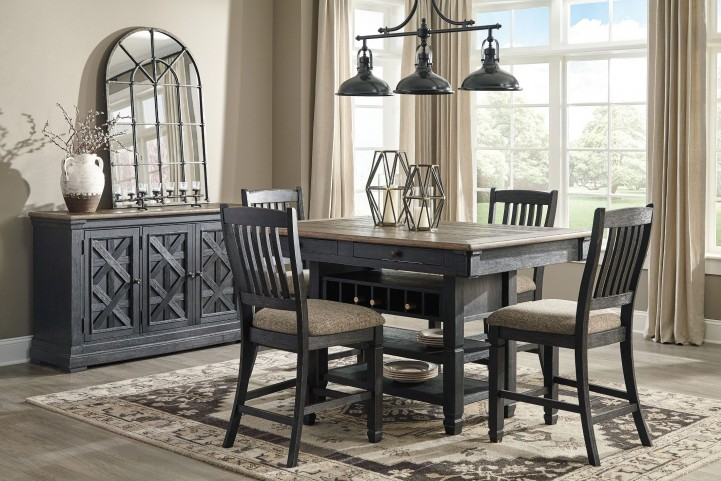 Tyler Creek Black And Gray Rectangular Counter Height Dining Set