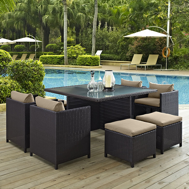 9 piece outdoor dining set butterfly bistro inverse piece outdoor patio dining set in espresso mocha shop