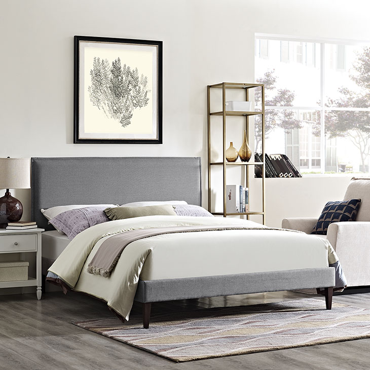 Camille Grey Fabric Platform Bed With Squared Tapered Legs
