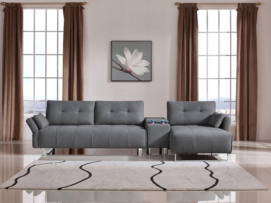 Grey Fabric Sectional Sofa ...