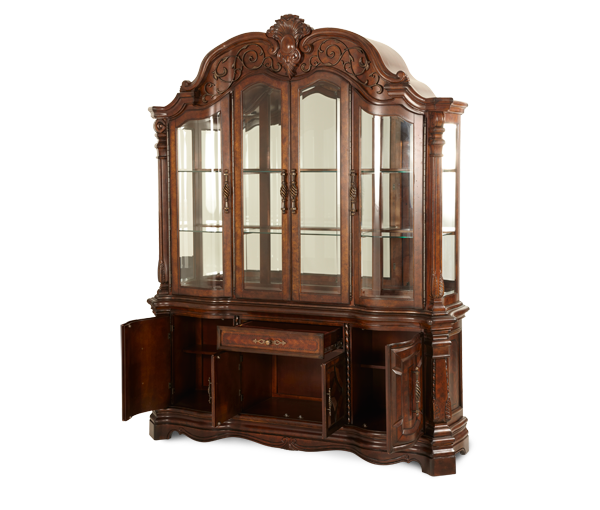 Charming Vintage Fruitwood China Cabinet Buffet