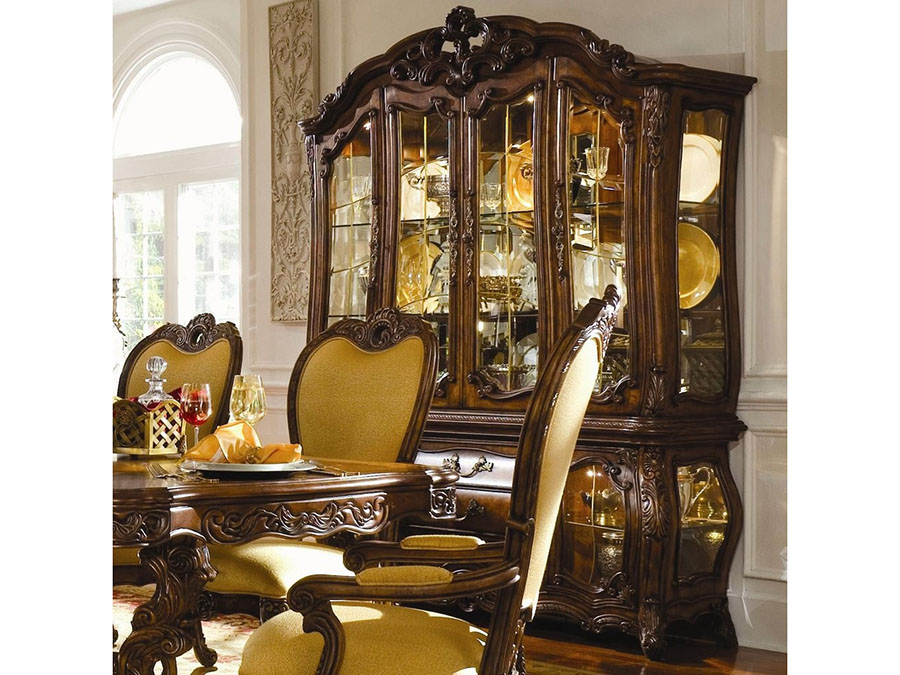 Rococo Cognac China Cabinet Buffet