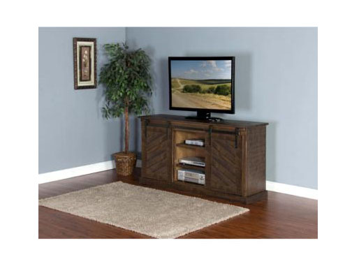 65 Tv Console W Slanted Panels Barn Door Shop For Affordable