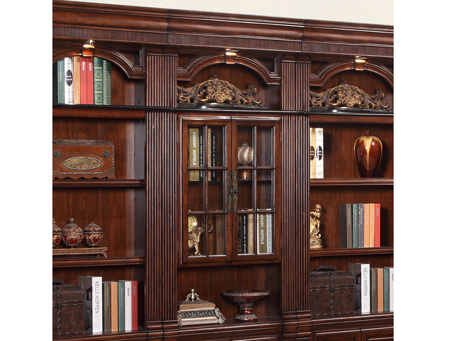 Wellington Library 4pcs Bookcase Inset Wall W Ladder
