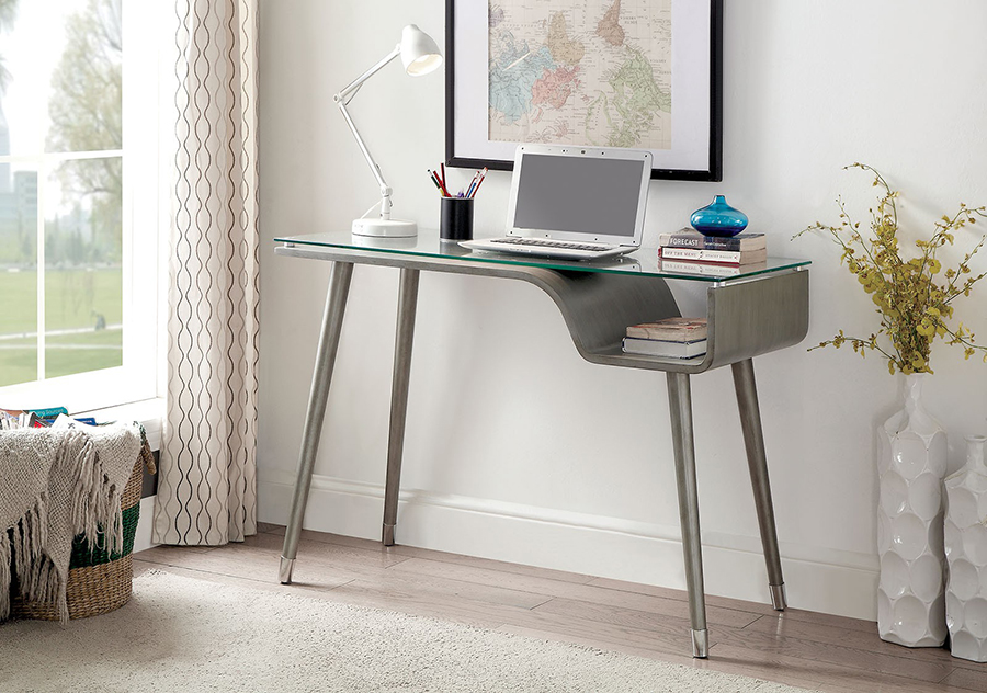 Holger Silver Gray Writing Desk