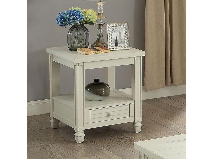 Suzette Antique White End Table