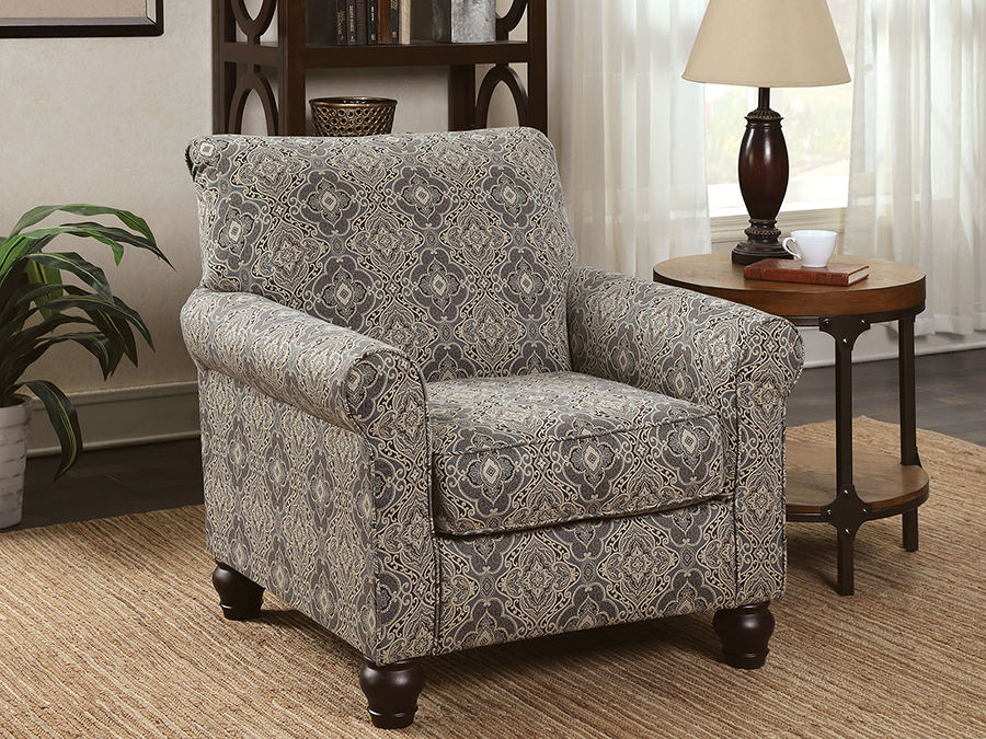 Clea Damask Pattern Accent Chair