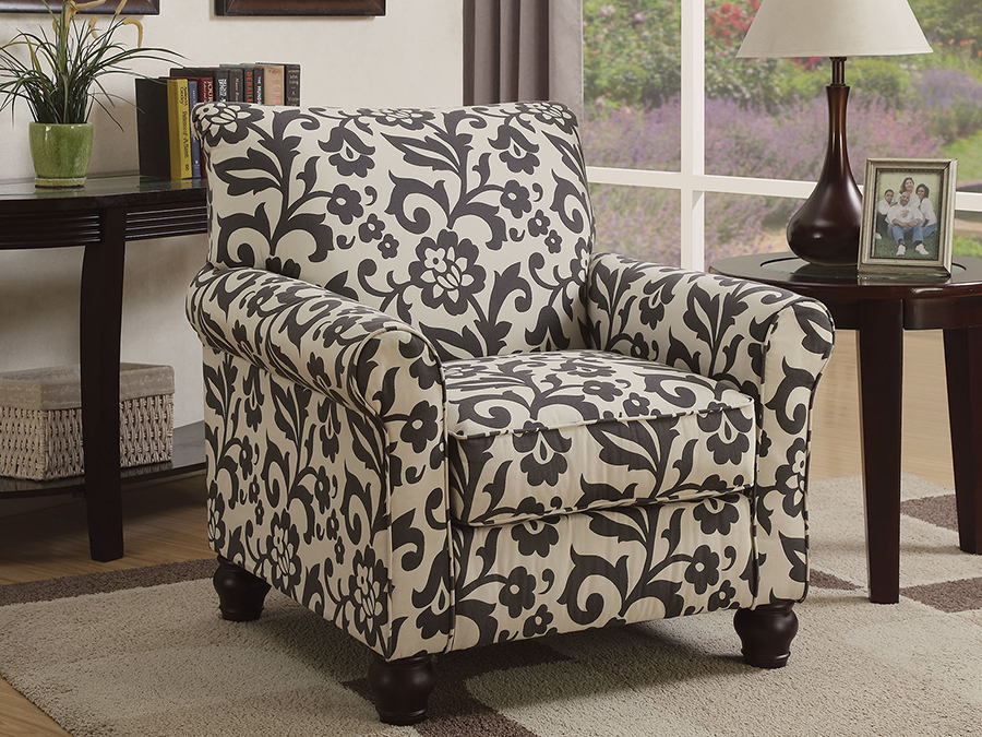 Clea Floral Pattern Accent Chair