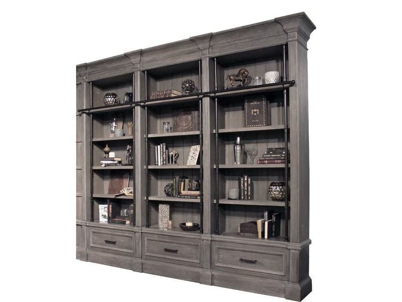 Gramercy Park 3pcs Museum Bookcase Library Wall In Smoke W