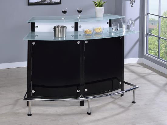 Arched Black Bar Table With Frosted Gl Top
