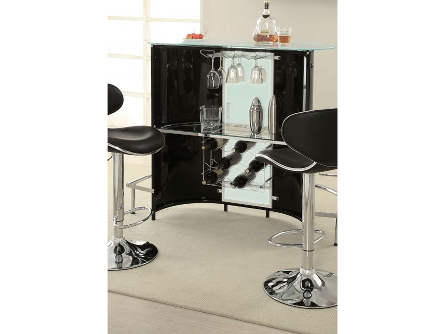 Black Bar Table With Frosted Glass Top