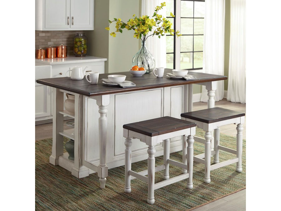 Bourbon County Kitchen Island Table W/ Drop Leaf Set